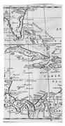 Map Of The West Indies Florida And South America Beach Towel by English School