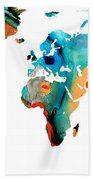 Map Of The World 11 -colorful Abstract Art Beach Towel