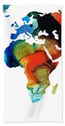 Map Of The World 3 -colorful Abstract Art Beach Towel
