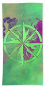 Map Of The World Wind Rose 3 Beach Towel