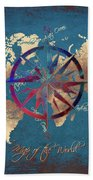 Map Of The World Wind Rose 4 Beach Towel