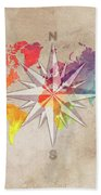 Map Of The World Wind Rose 7 Beach Towel