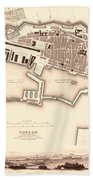 Map Of Toulon 1840 Beach Towel