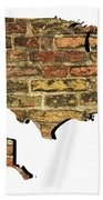 Map Of Usa And Wall. Beach Towel