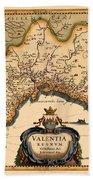 Map Of Valencia 1634 Beach Towel