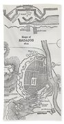 Map Showing The Site Of The Siege Of Beach Towel