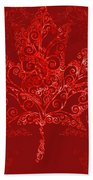 Maple Leaf Filigree Pattern Beach Towel