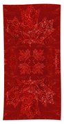 Maple Leaf Filigree Tiled Pattern Beach Towel
