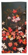 Maple Leaves On The Water  Beach Towel