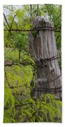 Marble Falls Texas Old Fence Post In Spring Beach Towel