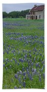 Marble Falls Texas Stone House And Bluebonnets Beach Towel