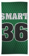 Marcus Smart Boston Celtics Number 36 Retro Vintage Jersey Closeup Graphic Design Beach Towel