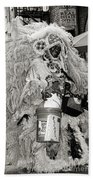 Mardi Gras Indian In Pirates Alley In Black And White Beach Towel