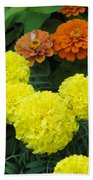Marigold And Zinnias Beach Towel