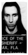 Marilyn Manson Mug Shot Vertical Beach Sheet