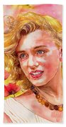 Marilyn Monroe With Poppies Beach Sheet