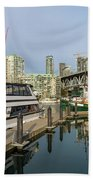 Marina At Granville Island In Vancouver Bc Beach Towel