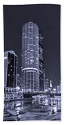 Marina City On The Chicago River In B And W Beach Towel