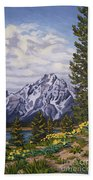 Marina's Edge, Jenny Lake, Grand Tetons Beach Towel by Erin Fickert-Rowland