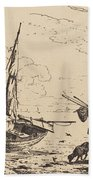 Marine: Fishing Boats On Shore, Man With Oars, Ship In Distance Beach Towel