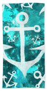 Maritime Anchor Art Beach Towel