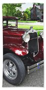 Maroon Vintage Car Beach Towel