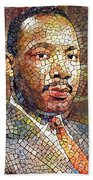 Martin Luther King Portrait Mosaic 2 Beach Towel