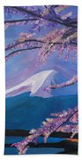 Marvellous Mount Fuji With Cherry Blossom In Japan Beach Towel
