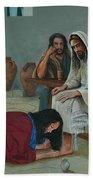 Mary Anoints The Feet Of Jesus Beach Sheet