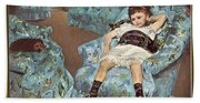Mary Cassatt-little Girl In A Blue Armchair1878 Po Amp 059 Mary Cassatt Beach Towel