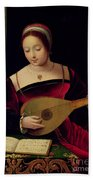 Mary Magdalene Playing The Lute Beach Towel