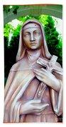 Mary With Cross Beach Towel