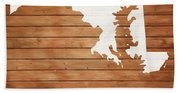 Maryland Rustic Map On Wood Beach Towel