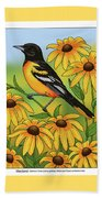 Maryland State Bird Oriole And Daisy Flower Beach Towel by Crista Forest