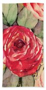 Ma's Roses 3 Beach Towel