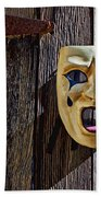 Mask On Barn Door Beach Towel