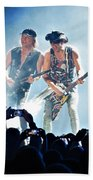 Matthias Jabs And Rudolf Schenker Shredding Beach Towel
