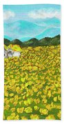 Meadow With Yellow Dandelions, Oil Painting Beach Towel