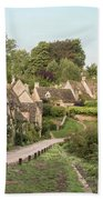 Medieval Houses In Arlington Row In Cotswolds Countryside Landsc Beach Towel