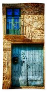 Medieval Spanish Gate And Balcony - Vintage Version Beach Towel