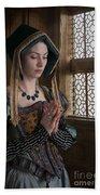 Medieval Tudor Woman At Prayer Beach Towel