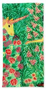 Meeting In The Rose Garden Beach Towel by Sushila Burgess