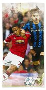 Memphis Depay Of Manchester United In Action Beach Towel