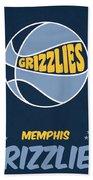 Memphis Grizzlies Vintage Basketball Art Beach Towel