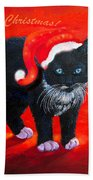 Meow Christmas Kitty Beach Towel