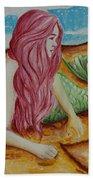 Mermaid On Sand With Heart Beach Towel