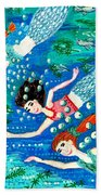 Mermaid Race Beach Towel by Sushila Burgess