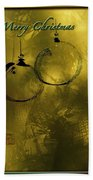 Merry Christmas Greetings In Soft Yellow Beach Towel