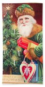 Merry Christmas Santa Delivers Gifts Vintage Card Beach Towel