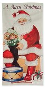 Merry Christmas Santa Pulls Doll From His Sack Vintage Card Beach Towel